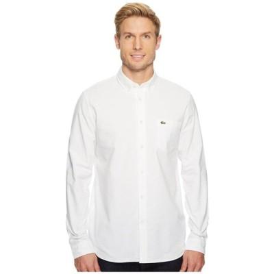 ラコステ Lacoste メンズ シャツ トップス Long Sleeve Oxford Button Down Collar Regular White