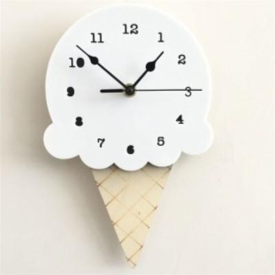 【送料無料!】ウォールクロック クロック 時計 壁 掛時計 アイスクリーム アイス ダイカット 木製 子供部屋 インテリア ギフト 北欧