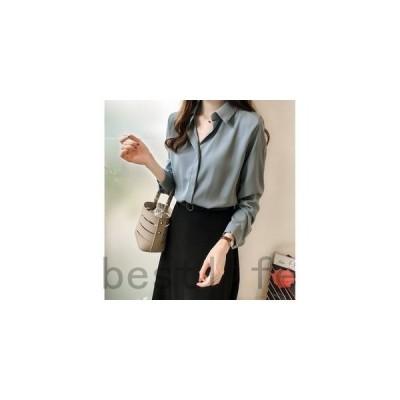 ブラウスレディースシフォンシャツトップス長袖無地折り襟プルオーバーシャツ春物OLオフィスビジネスカジュアル