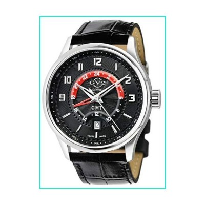 GV2 Men's Stainless Steel Quartz Watch with Leather Strap, Black, 20 (Model: 42303)