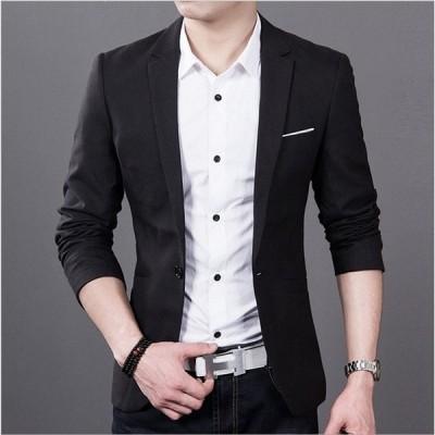 フォーマル ビジネス用ジャケット メンズ テーラード ジャケットノッチドラペル ブレザー 1ボタン アウター 紳士 トップス ビジネス 卒業式