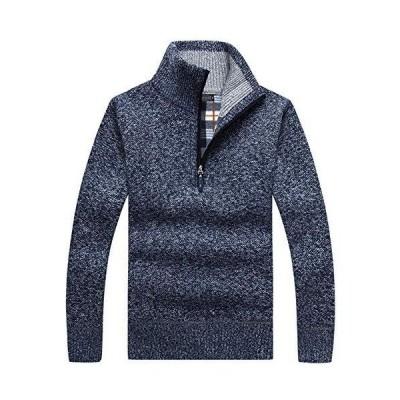 ニット セーター ハーフジップ カーディガン メンズ 長袖 厚手 無地 裏起毛 ゆったり 防寒 大きいサイズ 秋 冬 M-3XL