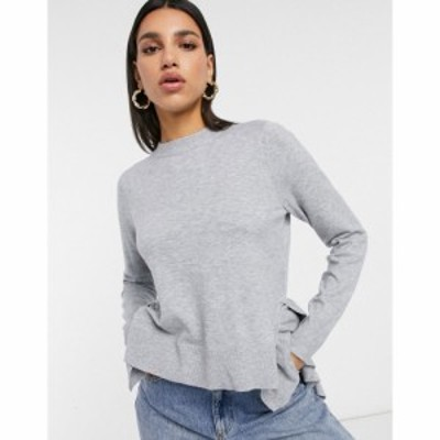 ヴィラ Vila レディース ニット・セーター トップス Peplum Hem Knitted Jumper In Grey ライトグレーメランジ