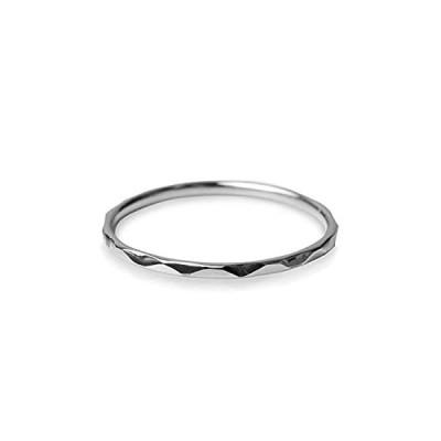 ピンキーリング 指輪 レディース 華奢 極細 18金 K18 ピンクゴールド プラチナ マイナス3号〜7号 槌目 (プラチナ PT900, 3号)