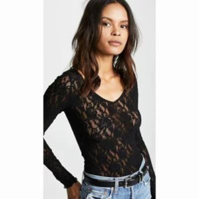 ハンキーパンキー ブラウス・シャツ Signature Lace Unlined Reversible Top Black