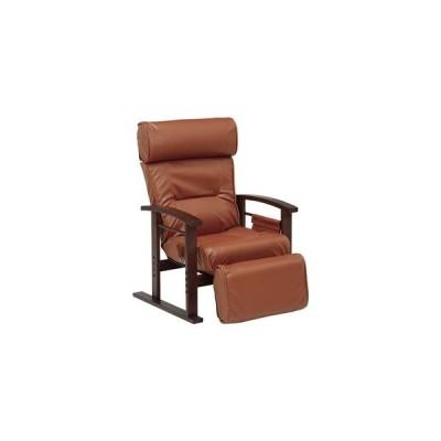 ds-2333400 リクライニング 高座椅子/パーソナルチェア 【ブラウン】 約幅65cm 木製 肘付き ラバーウッド スチールパイプ ウレタン PVC【代引不可】