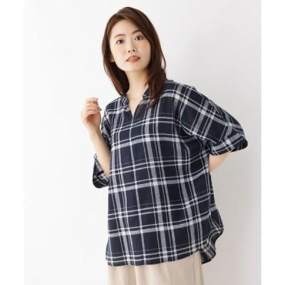 シャツ ブラウス 【洗濯機OK】リネン混ビッグスキッパーシャツ