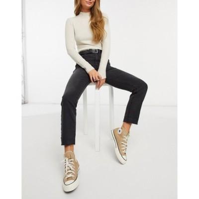 ストラディバリウス レディース デニムパンツ ボトムス Stradivarius high waist straight leg jeans in black