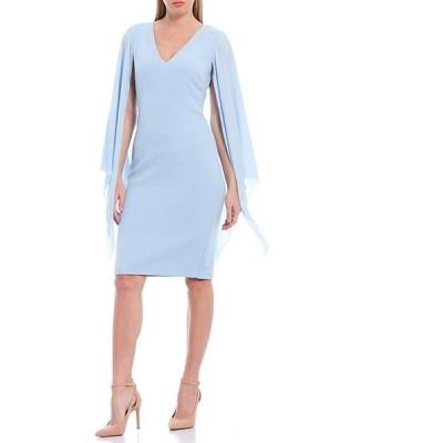 バッジェリーミシュカ レディース ワンピース トップス Combo Long Flutter Sleeve V-Neck Cocktail Dress