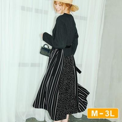 Ranan 【M~3L】異素材デザインワンピ ブラック L レディース