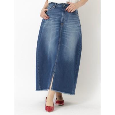 【大きいサイズ】COTTONUSAデニムスカート(Aライン) 大きいサイズ スカート レディース