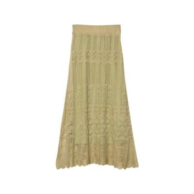 リエディ Re:EDIT [低身長/高身長サイズ有]かぎ編みナローロングニットスカート (ミント)
