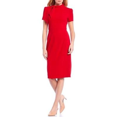 マギーロンドン レディース ワンピース トップス Petite Size Tie Neck Puff Sleeve Stretch Crepe Sheath Dress