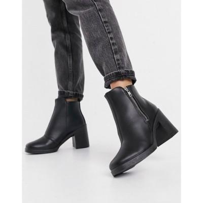 トップショップ レディース ブーツ・レインブーツ シューズ Topshop heeled Chelsea boots in black