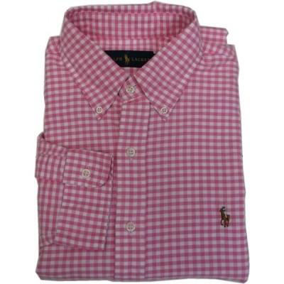 ポロ ラルフローレン 長袖 ワンポイント ボタンダウンシャツ チェック ピンク メンズ Polo Ralph Lauren 582