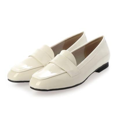 マシュガール masyugirl 【masyugirl(マシュガール)】【4E/幅広ゆったり・大きいサイズの靴 スクエアトゥマニッシュローファー】SOROTTO (アイボリーエナメル)