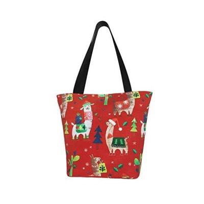 Christmas Cute Llama Cactus Xmas Themed Printed Women Canvas Handbag Zipper