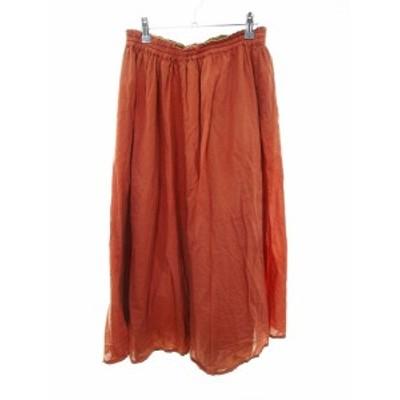 【中古】アーバンリサーチ URBAN RESEARCH スカート フレア ロング F オレンジ /MO レディース