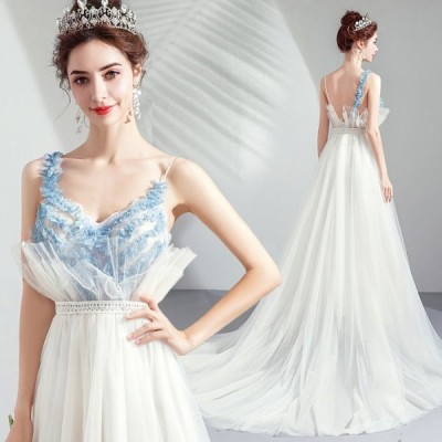 【ANGEL】キャミソールチュールレースフリルトレーンAラインロングドレス【送料無料】高品質 ホワイト 白 ブルー 水色 ロングドレス