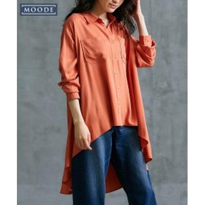大きいサイズ レディース MOODE フィッシュテール シャツ オレンジ/黒 8L/10L ニッセン