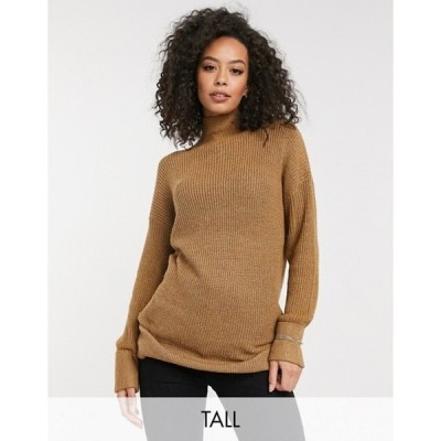 ベロモーダ レディース ニット・セーター アウター Vero Moda Tall longline sweater with high neck in tobacco