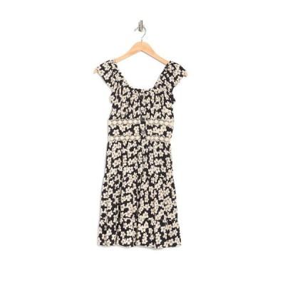 アンジー レディース ワンピース トップス Tiered Floral Print Lace Trim Dress BLACK