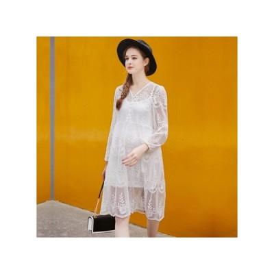 透け感レース ホワイト マタニティドレス フォーマル パーティードレス お呼ばれドレス kh-1184