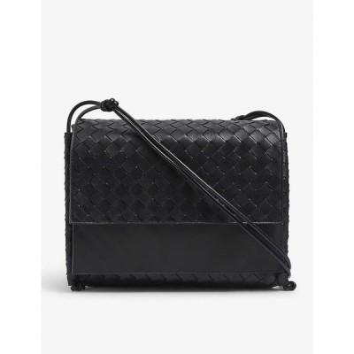 ボッテガ ヴェネタ BOTTEGA VENETA レディース ハンドバッグ サッチェルバッグ バッグ Fold large intrecciato leather satchel bag Black/black silver