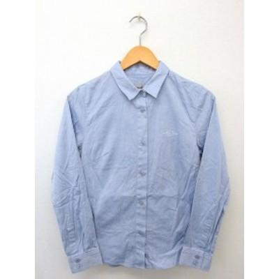 【中古】リランドチュール Rirandture シャツ ブラウス 長袖 ボタン 刺繍 コットン 綿 1 ブルー 青 /UT39 レディース