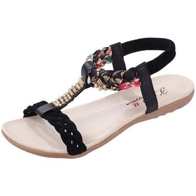 [Miwoluna] (ミウォルナ)ビーチ サンダル レディース 歩きやすい アンクルストラップ 編込み 花柄 ペタンコビジュー ラインストーン キラ
