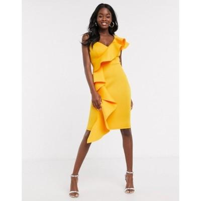 リプシー レディース ワンピース トップス Lipsy x Abbey Clancy ruffle one shoulder midi dress in orange Orange