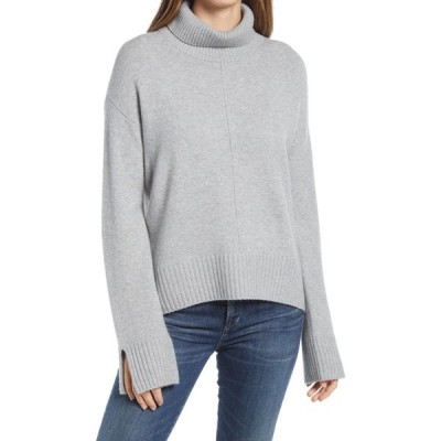 ノードストローム NORDSTROM レディース ニット・セーター トップス Raised Seam Turtleneck Sweater Grey Heather