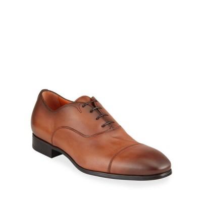 サントーニ メンズ スリッポン・ローファー シューズ Men's Burnished Leather Cap-Toe Lace-Up Shoes