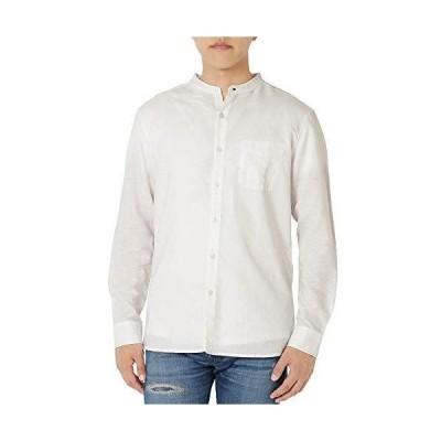 [eONE(イーワン)] バンドカラーシャツ シャツ リネン ノーカラー 長袖 メンズ 【襟なしシンプルおしゃれ】 (白 L)