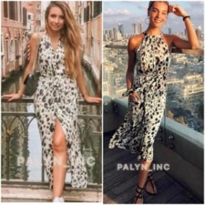 ファッション ドレス NWT ZARA AW18 FLOWING LEOPARD PRINT HALTERNECK DRESS TIED BELT 7842/107_S M L