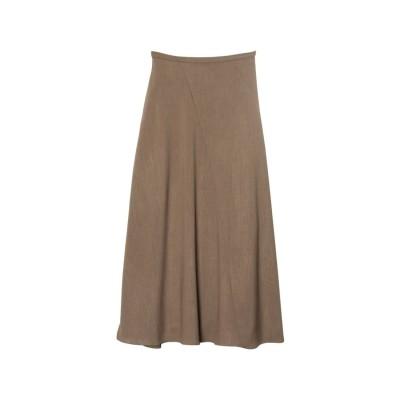 リエディ Re:EDIT [涼感][お家で洗える][低身長向けSサイズ対応][高身長向けMサイズ対応]リネンライクスパイラルナロースカート (ブラウン)