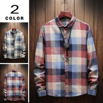 カジュアルシャツ メンズ チェックシャツ 春物 長袖 シャツ スリム 配色 チェック柄 おしゃれ 2020 新作 父の日
