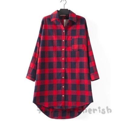 チェック柄シャツ レディース 長袖ロングシャツ 大きいサイズ ブラウス 開襟アウターエスニック風ナチュラル/チュニックシャツ森ガール風トップス