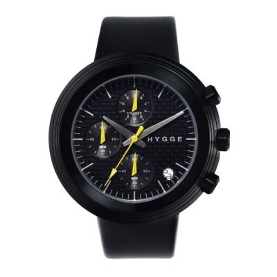 HYGGE ヒュッゲ 腕時計 クロノグラフ ホワイト ブラック レザー メンズ セイコー 2312 LEATHER/BLACK DIAL BLACK CASE