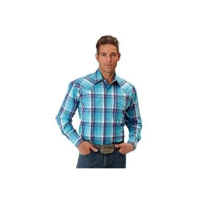 ウエスタン カウボーイ カジュアルシャツ トップス 海外セレクション Roper Western Shirt メンズ L/S Plaid Snap アクア ブルー 03-001-0278-4023 BU