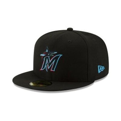 ニューエラ メンズ 帽子 アクセサリー Miami Marlins Authentic Collection 59FIFTY Fitted Cap Black