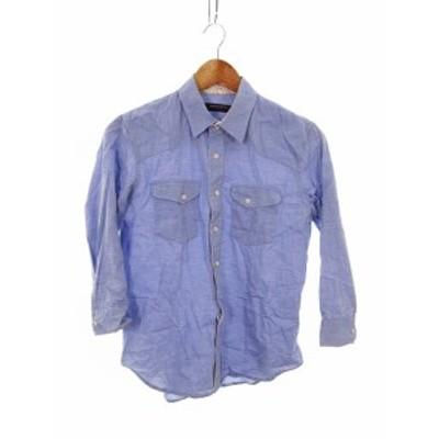 【中古】ボイコット BOYCOTT シャツ 七分袖 無地 2 青 ブルー /MO レディース