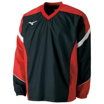 ミズノ メンズ ウィンドブレーカーシャツ(裏メッシュ)[ユニセックス] 96 ブラック×チャイニーズレッド XS テニス/ソフトテニス ウエア 62JE7001