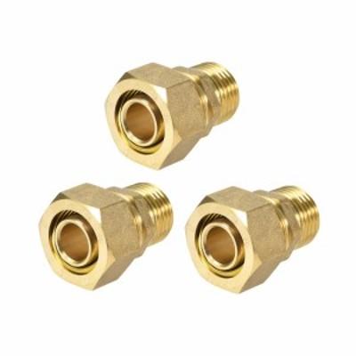 uxcell 真鍮圧縮管継手コネクタア 圧縮管ダプター チューブID OD Xオス ゴールドトーン 20mmチューブ外径x1/2 Gオス3個入り