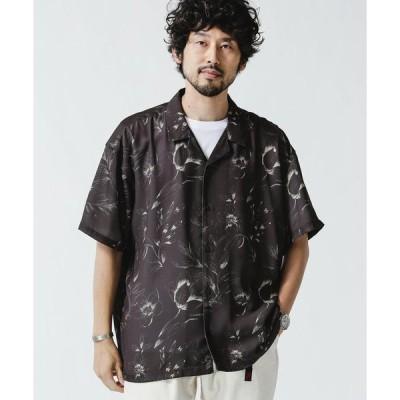 【ナノ・ユニバース】シャドーフラワーオープンカラーシャツ