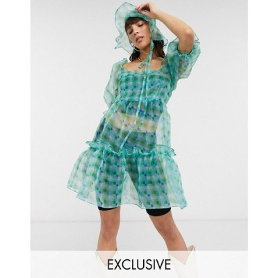 リクレイム ヴィンテージ Reclaimed Vintage レディース ワンピース ミニ丈 inspired organza mini smock dress in green check グリーンチェック