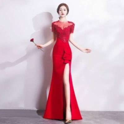 ロングドレス スレンダーライン パーティードレス タイトドレス ナイトドレス 春夏 結婚式 二次会 演奏会 黒 赤 大きいサイズ ロング丈