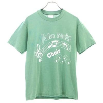 ヘインズ 90-00s プリント 半袖 Tシャツ S 緑系 Hanes USA製 メンズ 古着 200603 メール便可