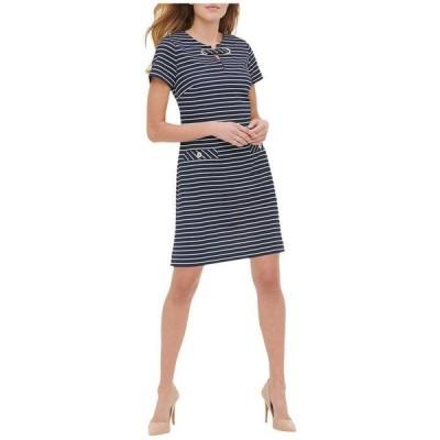 トミー ヒルフィガー レディース ワンピース トップス Stripe Scuba Crepe Grommet Pocket Dress
