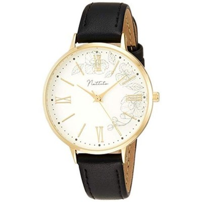 [フィールドワーク] 腕時計 アナログ フローラ 花柄 革ベルト 白 文字盤 FSC167-5 レディース ブラック